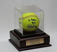 Softball Acrylic Display Case with Cherry Finish Base
