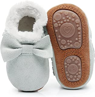 Baby Moccasins with Fur Fleece Rubber Soles Warm Snow Boots Leather Baby Shoes for Boys Girls