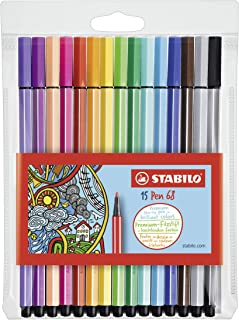 Stabilo Pen 68 Coloring Felt-tip Marker Pen, 1 mm - 15-Color Wallet