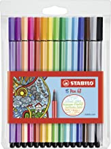 STABILO Felt-tip Stabilo Pen 68 6815-1 Assorted Fibre Felt Tip Pens Wallet of 15, Multicoloured, (49432)