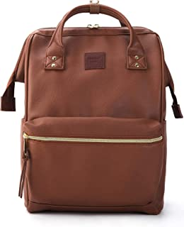 Kah&Kee Leather Backpack Diaper Bag with Laptop Compartment Travel School for Women Man Large Brown B1211