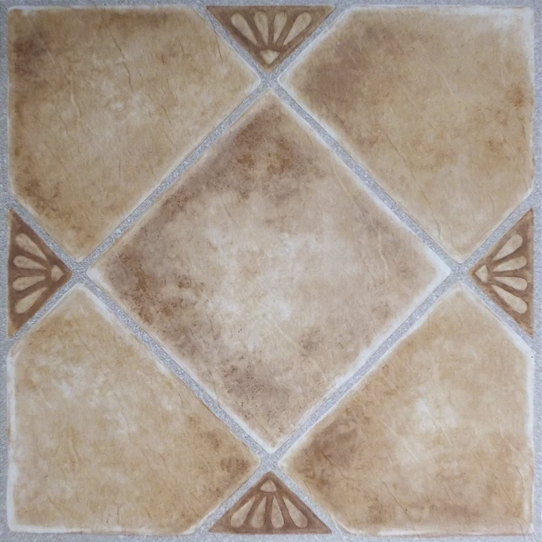 Achim Home Furnishings FTVGM33545 Tivoli Beige Clay Diamond Self Adhesive Vinyl Floor Tile #335 with Accents, 12