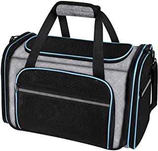 MASKEYON Airline Approved Large Soft-Sided Collapsible Pet Travel Carrier for Dog Puppy,Cats,2 Kitty,Portable Dog Travel C...