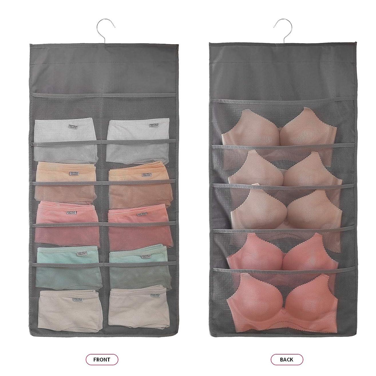 Closet Hanging Organizer with Mesh Pockets & Rotating Metal Hanger,Dual Sided Wall Shelf Wardrobe Storage Bags,Oxford Cloth Space Saver Bag for Bra Underwear Underpants Socks (Gray, Big 15 Pocket)