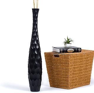 Leewadee Jarrón De Suelo Grande para Ramas Secas Decorativas Florero Alto De Piso Decoración Casa 90 cm, Madera de Mango, Negro