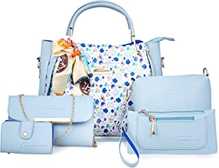 Shining star Women Sky Blue Hand-held Bag (Pack of: 5)
