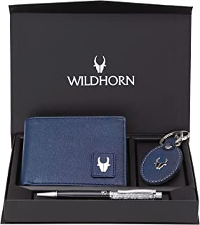 WildHorn® RFID Protected Genuine Leather Wallet & Gift Combo for Men