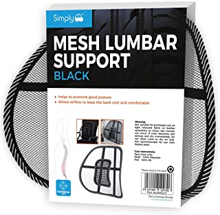 Simply BMSL01 Mesh Lumbar Support Black Home Car Office Chair Cushion Pad, W38 x H42 x D14 cm, Promote Good Posture, Also ...