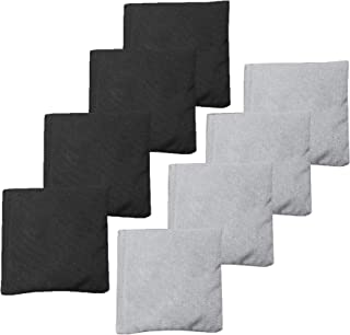 Play Platoon Premium Weather Resistant Duck Cloth Cornhole Bags - Set of 8 Bean Bags for Corn Hole Game - 4 Silver & 4 Black