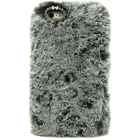 3C Collection Coque Iphone 6 Fourrure Noir, Coque Iphone 6S Poilue, Coque Hirsute pour Iphone 6 et Iphone 6S Housse Poilue pour Fille