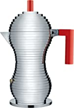 """Alessi MDL02/6 R""""Pulcina"""" Stove Top Espresso 6 Cup Coffee Maker in Aluminum Casting Handle And Knob in Pa, Red"""