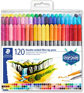 Staedtler Double-Ended Fiber-Tip Pens, Washable Ink, Fine & Bold Writing and Coloring Tips, 120 Assorted Colors, 3200 TB120