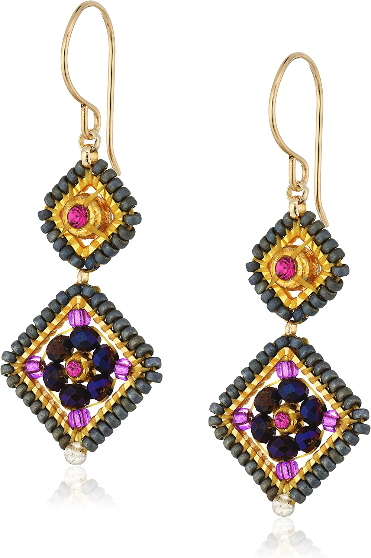 Miguel Ases Amethyst Hydro-Quartz and Swarovski Double Diamond Drop Earrings