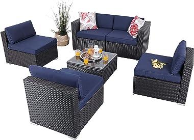 PHI VILLA Outdoor Sectional Furniture 6 Piece Patio Sofa Set Low-Back Rattan Wicker Conversation Set, Navy Blue