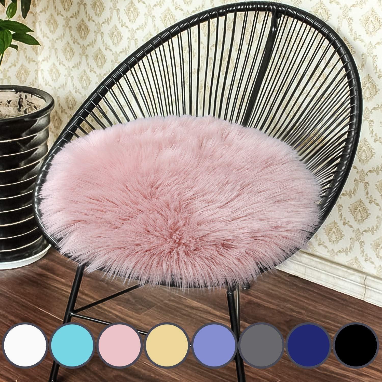 YIQI Funda de Silla de vellón sintético, Almohadilla del Asiento, alfombras Suaves y esponjosas para el Piso del sofá (30 x 30 cm, Rosa Redondo)