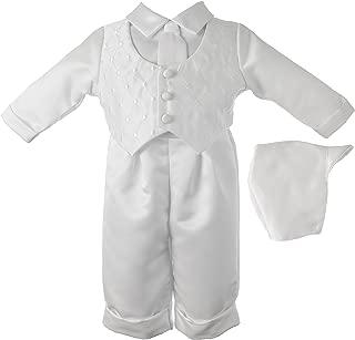 Baby-Boys Newborn Christening Baptism Satin Long Pant Outfit Set