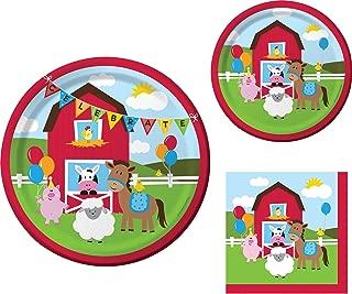 Farmhouse Fun Birthday Party Supplies Set: Dinner Plates, Dessert Plates, and Napkins Kit for 16