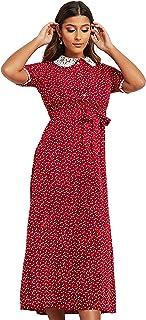 فستان طويل بنمط طباعة عشوائي وياقة دانتيل ورباط خصر للنساء