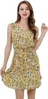 المرأة الصيف اللباس الأزهار ذاتية التعادل الخصر عارضة ميدي فساتين للنساء مع جيوب