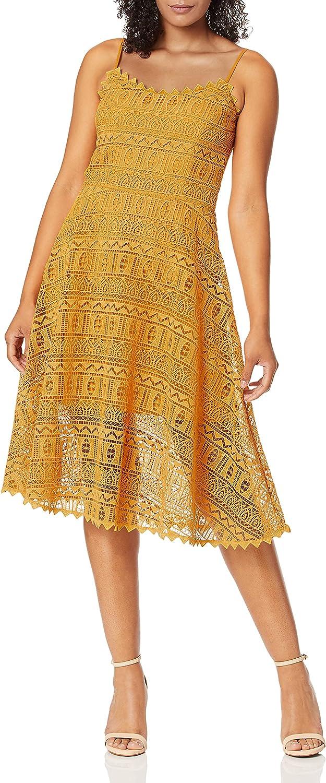 Dress the Population Women's Brenna Sleeveless Lace Fit & Flare Midi Dress