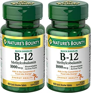 Natures Bounty Methylcobalamin B12 Microlozenge Tablets, 1000 mcg, 120 Count), 60 Count (Pack of 2)