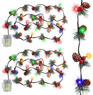 RundA 2 Pack Christmas Lights, Garland with Lights Fairy Lights Pine Cone Berries Indoor and Outdoor Christmas Tree Lights...