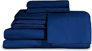 Effortless Bedding Microfiber Oversized 4 Piece Sheet Set, Featuring Fitted Top Sheet (Queen, Blue)