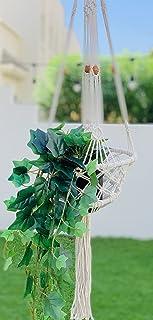 BohoRustique: Plant hanger (set of two) | flower pot holder | natural white | outdoor or indoor decor (Basket shape planter)