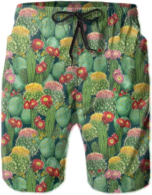 Garden Flowers Cactus Texas Desert Botanic Various Plants with Spikes Pattern Drawstring Waist Beach Shorts for Men Swim Trucks Board Shorts with Mesh Lining,XXL