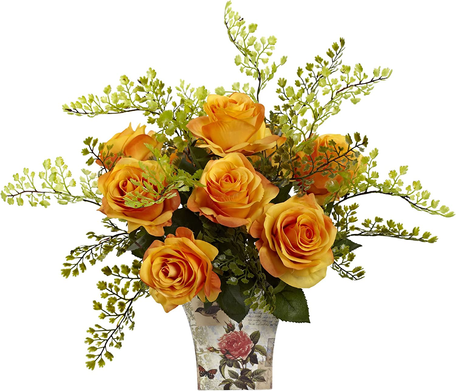 Nearly Natural 1379-OY pink 7 Maiden Hair with Floral Planter, orange Yellow
