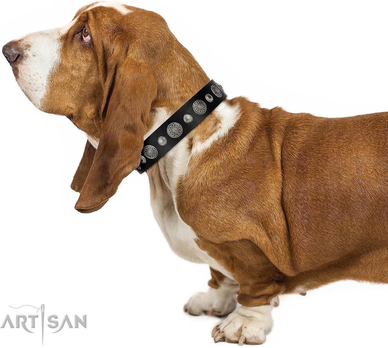 FDT Artisan 36 inch Black Leather Dog Collar   Vintage Elegance   1 1 2 inch (40 mm) wide  Gift Box Included