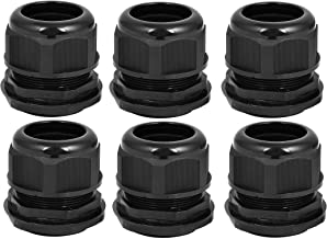YXQ PG48 Cable Gland Joints w Gasket for 35-45mm Adjustable Lock Nut Wire Waterproof Connector Black(6Pcs)