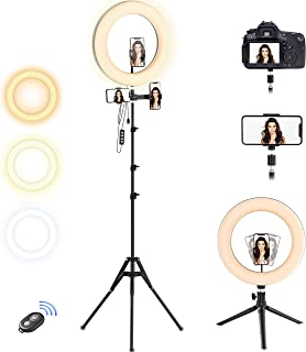 "Selvim Aro de luz 10.2"" LED 2 Trípodes, Anillo de Luz 2,1m Regulable, 3 Soportes para Móviles, Control Remoto Bluetooth, 1..."