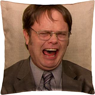 Dwight Schrute Office C103 Funny Pillow, Throw Pillow for Home Office Decor, Cover Linen Lined Pillow Case, Cute Decorative Couch Pillow, House Warming Presents (Cover + Insert)