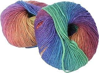 BESPORTBLE 2 Roll Rainbow Wool Yarn Multi Color Yarn Cotton Yarn for DIY Crochet Knitting Crafting