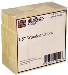 JoePaul's Crafts 3.8cm - Bloques de Madera Cuadrado de Arte inacabado de Madera Cubos de Madera - Bricolaje bebé Ducha/Sello Bloque