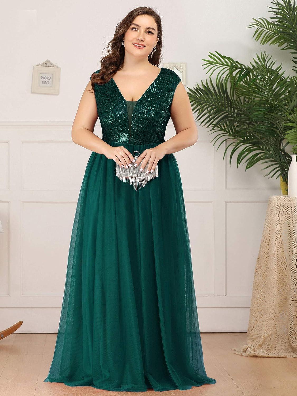 Ever-Pretty Women's A-Line Sequins Patchwork Long Plus Size Evening Gowns 0983-PZ