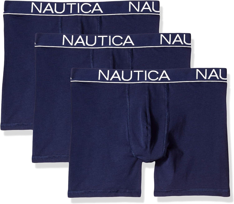 Nautica Men's Cotton Stretch Classic Boxer-Brief Multipack