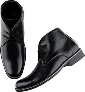 Kanprom Men's Black Genuine Leather Formal Lace-Up Boots