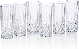 Lead-Free Heavy Base Highball Glasses for Water, Juice Beer and Cocktails [Set of 6] Clear Stylish Slim Design - 8 Ounce Drinking Glasses