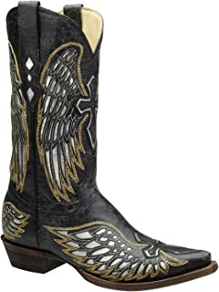 CORRAL Men's Black Silver Inlay Embroidered Wing Cross Snip Toe Cowboy Boots A1966