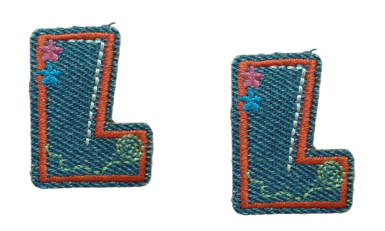 (2) Small Denim Letter L Iron On Patch Applique Motif Alphabet Symbol Scrapbooking Decal 1.4 x 1 inches (3.5 x 2.5 cm)