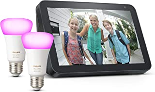 Echo Show 8 - Tessuto antracite + Lampadine intelligenti a LED Philips Hue White & Color Ambiance, confezione da 2 lampadi...