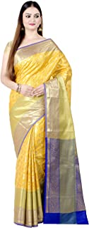 Women's Kataan Silk Blend Indian Ethnic Banarasi Saree with Unstitched Blousepiece(1293)