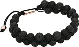 Lava Stone Double Strand Adjustable Bracelet in IP Stainless Steel