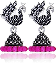 Zukhruf Tribal Collection Oxidized Silver & Crystal Hook Earrings for Women & Girls