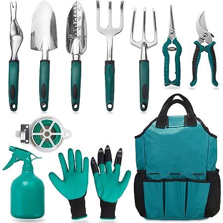 FiveJoy Garden Tool Set, 11 Piece Aluminum Alloy Steel Hand Tool Starter Kit with Garden Bag, Outdoor Tool, Heavy Duty Gardening Work Set Gift with Ergonomic Handle, Gardening Tools for Women and Men