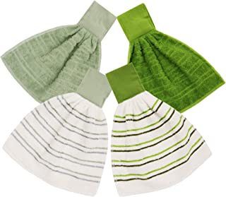 ISTOWEL Hanging Kitchen Towels with Loop 100% Soft Cotton. Super Absorbent Hand Towels in Convenient 12x12