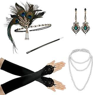 Zivyes 1920s Accessories Flapper Costume Women Headpiece Cigarette Necklace Gloves