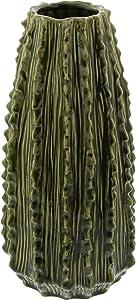 "Deco Company Vase, Keramik, Kaktus, 35,6 x 17,8 cm, Schwarz/Grau/Braun 14"" x 7"" grün"